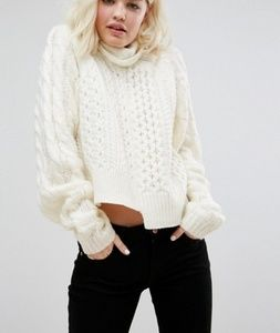 Asos Asymmetrical Crop Cable Knit Sweater